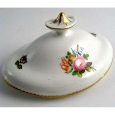 Derby? or Worcester? Oval lid for a sucrier, decorated in colourful flower sprays, oval and gilded finial, c1800