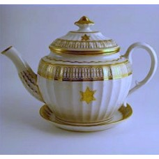 Coalport Oval Teapot and Stand, new fluted design, decorated in gilt 'garter star' with 'dot and elliptical' border pattern, c1810