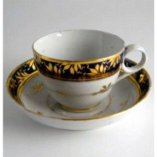Chamberlain Worcester Tea Cup & Saucer, Dejeuney, gilded roses, blue border with gold barley ears, pattern number 273, c1802-5