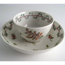 New Hall Tea Bowl and Saucer, Pattern 161, Stylistic Flower  Sprigs and Bouquet Decoration, Flower and Foliage Garland Border, c1795