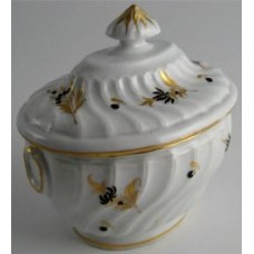 Chamberlain Worcester Oval Shanked Sucrier and Cover, Brown and Gilt Floral Decoration, Pattern 16, c1795