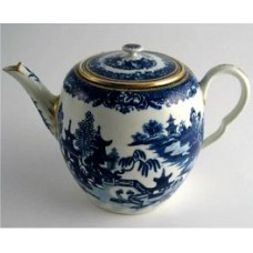 Worcester Barrel Shaped Teapot, Decorated in Blue and White  with the 'Two Figures in a Temple Landscape' Pattern, Disguised Numeral Mark, c1775-85