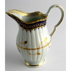 Worcester Jug of 'New Fluted' design, Cobalt Blue and Gilt  decoration, c1780