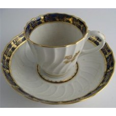 Barr Worcester Coffee Can and Saucer, Shanked Shape with Blue  and Gilt Border and Gilded Thistles, Scratched 'B' mark, c1795