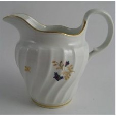 Barr Worcester Waisted Shanked Jug, Decorated with Blue, Red, Green and Gilded Flower Sprigs, Scratched 'B' mark, c1795