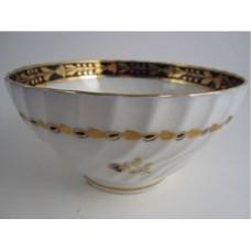 Salopian Slops Bowl, 'Waisted' Spiral Moulded Body,  Underglaze Cobalt Blue with Gilt Decoration, c1795