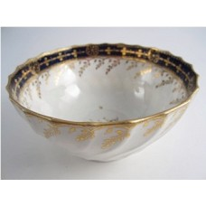 Chamberlains Worcester Slops Bowl of 'Waisted' Shanked Form,  Decorated with Cobalt Blue Band and Gilt Decoration, Pattern 60, c1795