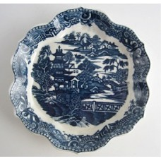 Caughley Blue and White 'Pagoda' pattern Hexagonal Teapot  Stand, c1780