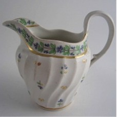 Worcester Milk Jug, Waisted Shanked Moulded Body, 'Cornflower' Decoration, 'Flight & Barr' period, c1795