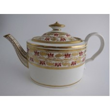 Coalport 'Thomas Rose, Hand Painted Smooth Oval Teapot,  Decorated in Orange and Gilt 'Grape Vine' Bands, c1805