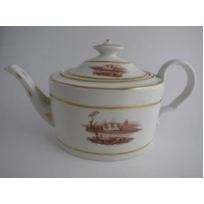 Coalport 'John Rose' Rare Oval Straight Sided Teapot, Applied  Classical Scenic Views, c1803
