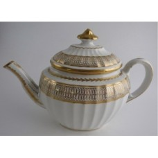 Coalport 'John Rose' New fluted Oval Gilt Teapot,  'Interlinked Ellipses and Dot' Gilt Decoration, c1798