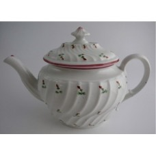 Coalport 'John Rose' Waisted Spiral Fluted Oval Teapot 'Red and Green Flower Sprig' Decoration, c1798