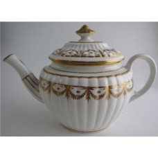 Coalport 'John Rose' Oval New Fluted 'Gilded Swags' Teapot,  c1800