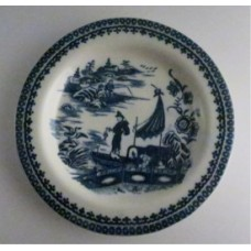 Caughley small sized plate, beautifully decorated with the transfer printed blue and white 'Pleasure Boat' or 'Fisherman and Cormorant' pattern, c1785