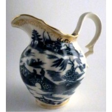 Caughley Milk Jug, Half Fluted Waisted Form, Blue and White 'Pagoda' Decoration, Salopian Sx Mark, c1785-90