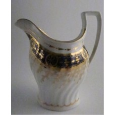 Chamberlains Worcester Jug with Oval Shanked and Waisted body, Blue and Gilt Decoration, Pattern no. 60, c1795-1800
