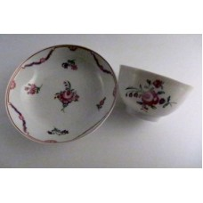 New Hall Tea Bowl and Saucer, Floral Decoration, Pattern 139, c1785-90