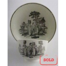 Worcester ' First Period' Tea Bowl & Saucer, transfer printed with 'Milkmaids' pattern, c1780