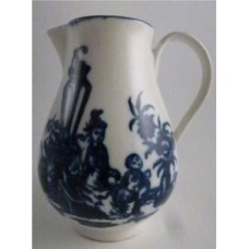 First Period Worcester Milk Jug, Decorated in Blue and White with 'Mother and Child' Pattern, c1770
