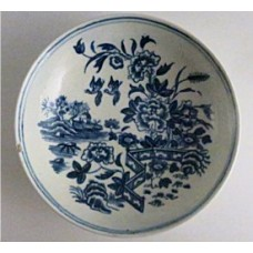 A Very Small First Period Worcester Saucer, Decorated with the 'Fence Pattern', c 1780