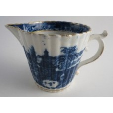 Caughley Blue and White 'Temple' Pattern Milk Jug, c1785