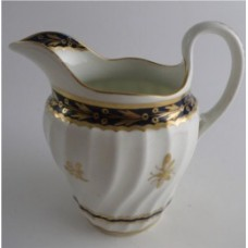 Flight and Barr period Worcester Shanked Milk Jug, Blue and Gilt Decoration with the 'Fly' pattern, c1790