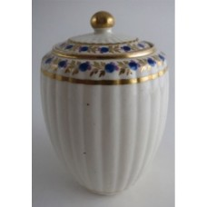 Caughley Tea Canister, New Fluted Barrel Shape, Stylised Blue and Pink Flowers and Gilded Foliage Decoration, c1790