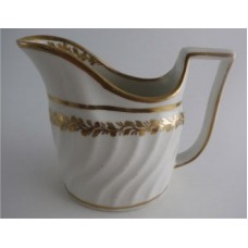 Coalport Oval Spiral Shanked Milk Jug, Gilded Leaf Garland Decoration, c1800