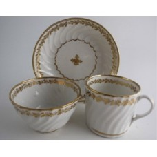 Coalport Spiral Shanked Trio (Tea Bowl, Coffee Can and Saucer), Gilded Leaf Garland Decoration, c1800