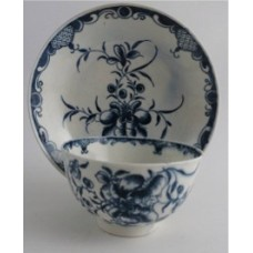 First Period Worcester Tea Bowl and Saucer, Painted Underglaze Blue with the 'Mansfield' Pattern, c1765-75