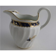 Worcester Circular Shanked Milk Jug, Blue and Gilt Decoration with 'Bluebell pattern', c1795