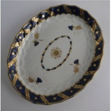 Worcester Oval Shanked Teapot Stand, Blue and Gilt Decoration with 'Bluebell pattern', c1795