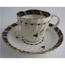 Worcester Oval Shanked Coffee Cup and Saucer, Blue and Gilt Decoration with 'Bluebell pattern', c1795