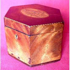 George III Hexagonal Mahogany Tea Caddy, Inlaid With an Oval Floral Marquetry Panel on the Lid and Strung with Boxwood and Mahogany, c1790