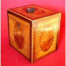 George III Satinwood Single Cube Tea Caddy, Exquisitely Inlaid On All Four Sides & Top With Ovals & Quarter veneers, Very Fine 'Rope' Inlay Borders, Boxwood strung, Brass Loop Handle, c1785